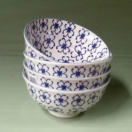 Juego de 4 Bowls con Flores Azules