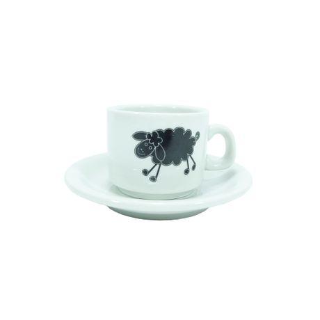 Pocillo de café con plato de porcelana Oveja Negra