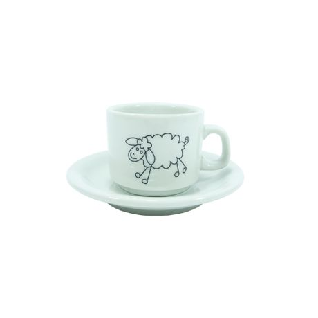 Pocillo de café de porcelana con plato Oveja Blanca