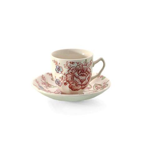 Taza de café con plato Rose Chintz