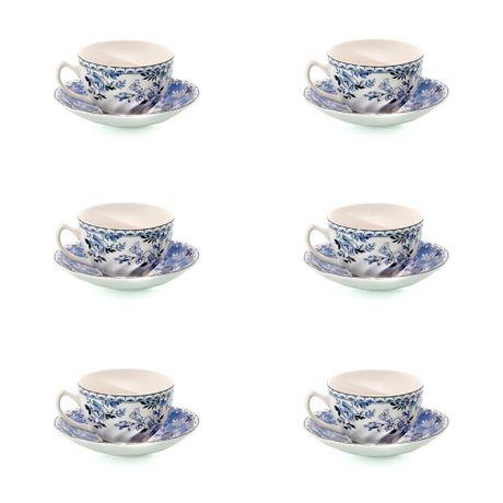 Juego de 6 Tazas de Té con plato Devon Cottage