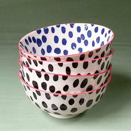 Juego de 4 Bowls Lunares Azules y Negros