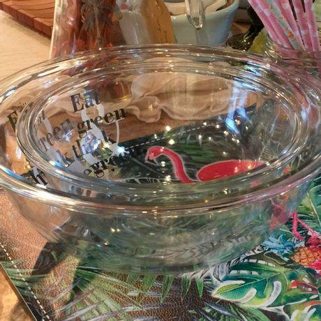 Set 2 Ensaladeras de vidrio de 1.5 y3 litros Eat Green