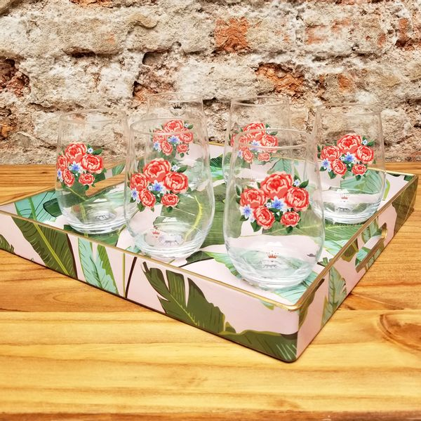 Juego de 6 Vasos Roses con Bandeja Hojas