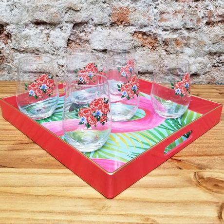 Juego de 6 Vasos Roses con Bandeja Flamenco