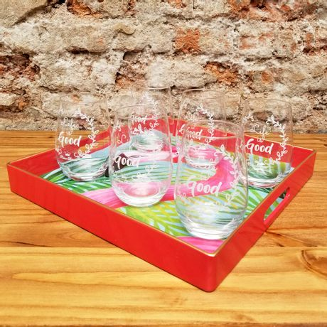 Juego de 6 Vasos Life is Good con Bandeja Flamenco