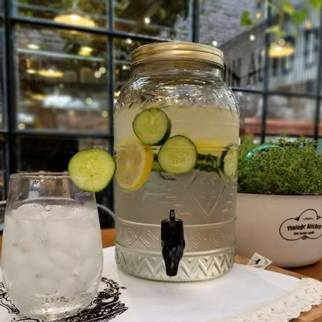 Dispenser 4 litros + 12 Vasos bombé de vidrio