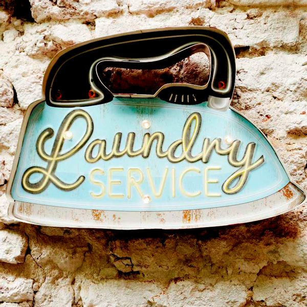 Cartel Luminoso Laundry Service