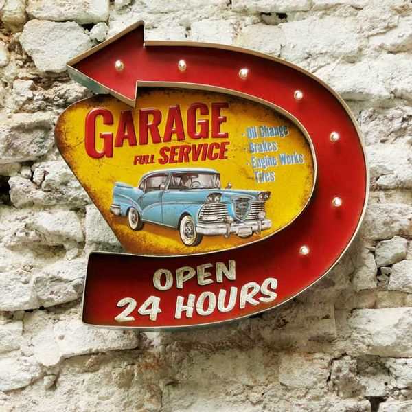 Cartel Luminoso Garage Service