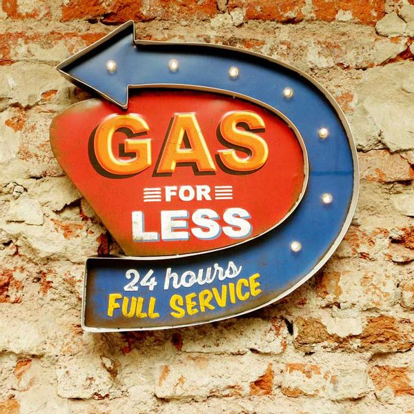 Cartel Luminoso Gas for less