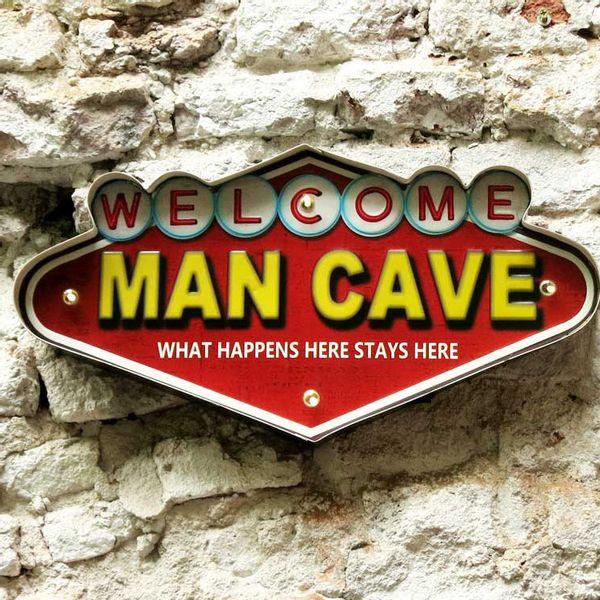 Cartel Luminoso Welcome Man Cave