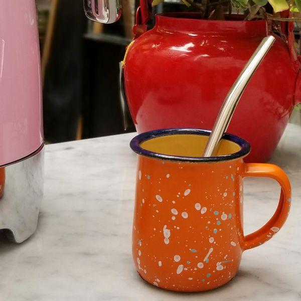 Jarrito de Mate Esmaltado con bombilla color naranja