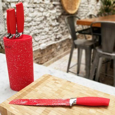 Taco símil mármol rojo con 5 Cuchillos