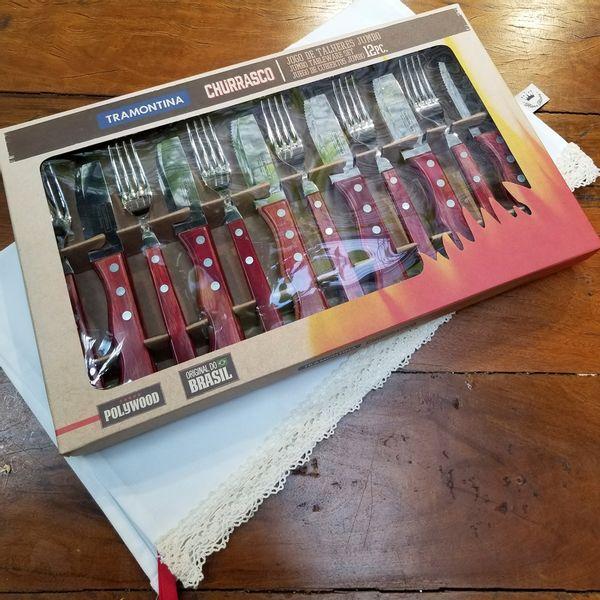 Cubiertos Tramontina Polywood Asado - Caja de 12 piezas