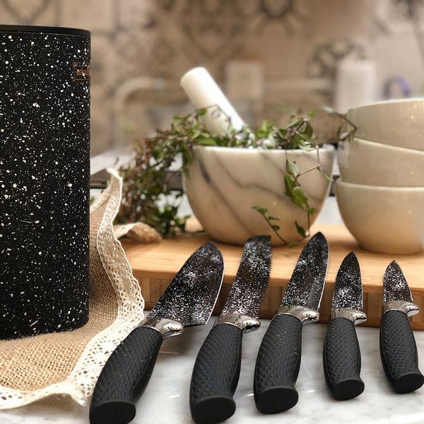 Taco símil mármol negro con 5 Cuchillos