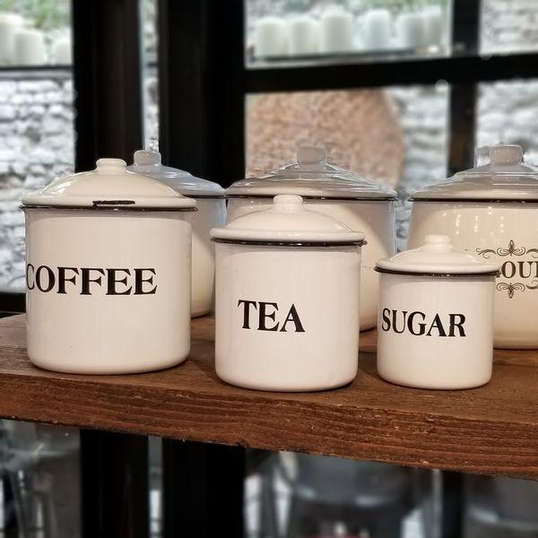 Tarros Enlozados Vintage Coffee Tea Sugar - 3 piezas