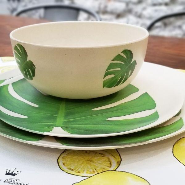 Bowl de Bambú con Hojas estampadas