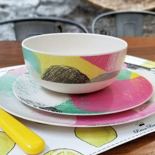 Bowl de Bambú con diseño Multicolor
