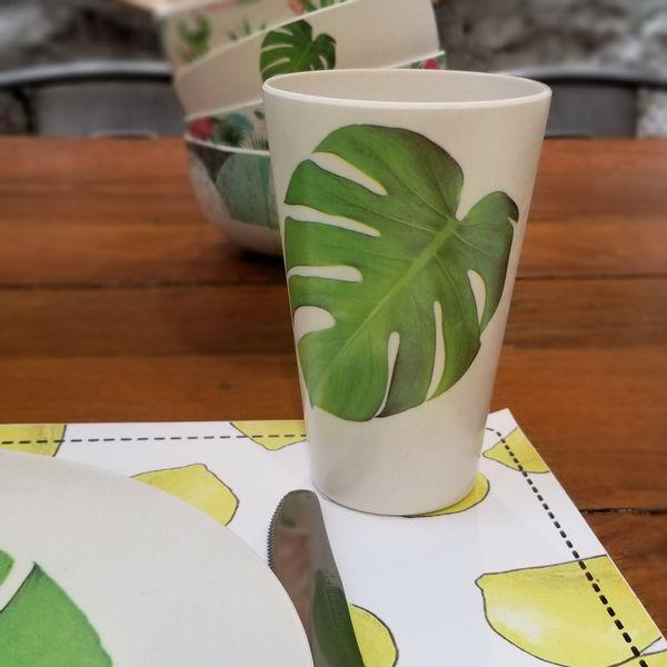 Vaso de Bambú con Hojas estampadas