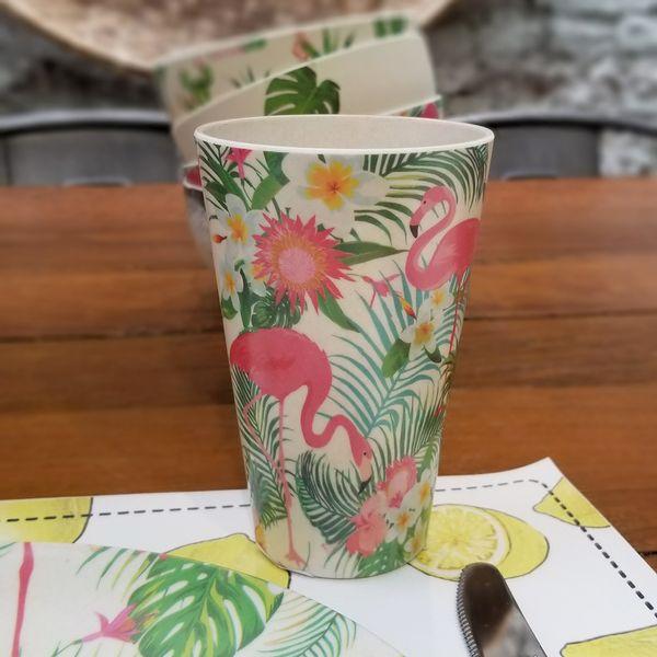Vaso de Bambú con Flamencos estampados