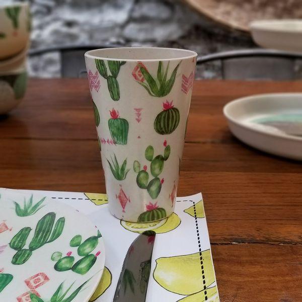 Vaso de Bambú con Cactus estampados