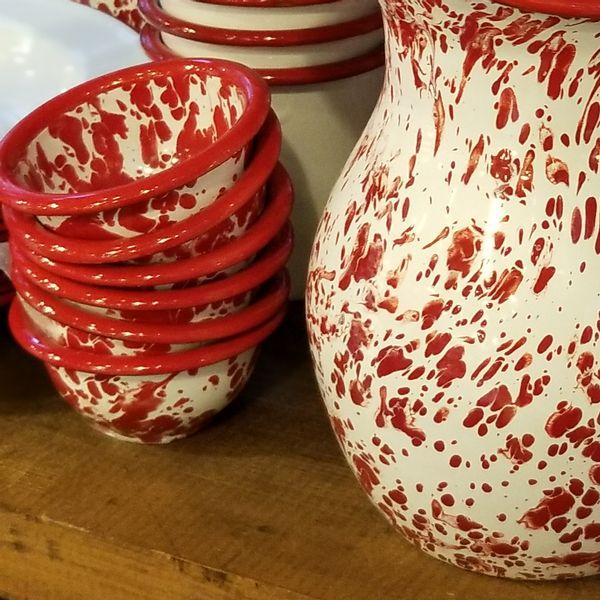 Mini Bowl Enlozado Rojo y Blanco