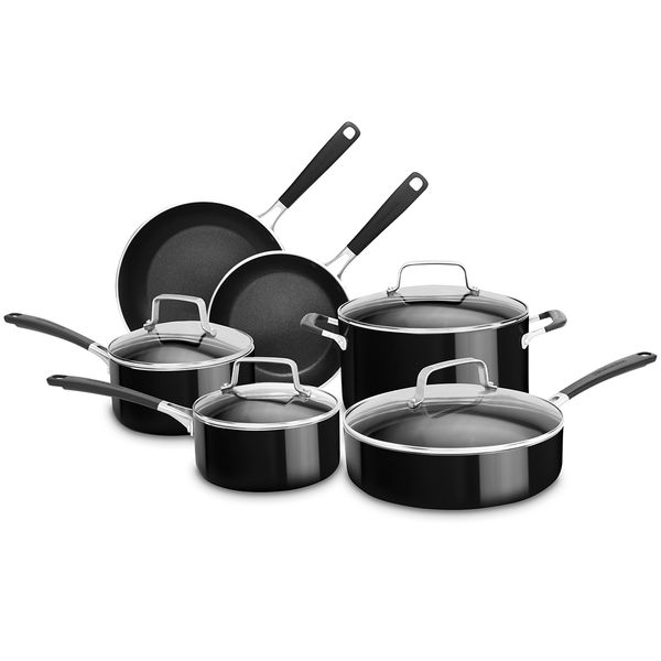 Bateria De Cocina KitchenAid 10 Piezas Aluminio Negro Antiadherente