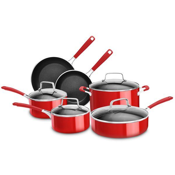 Bateria De Cocina KitchenAid 10 Piezas Aluminio Rojo Antiadherente