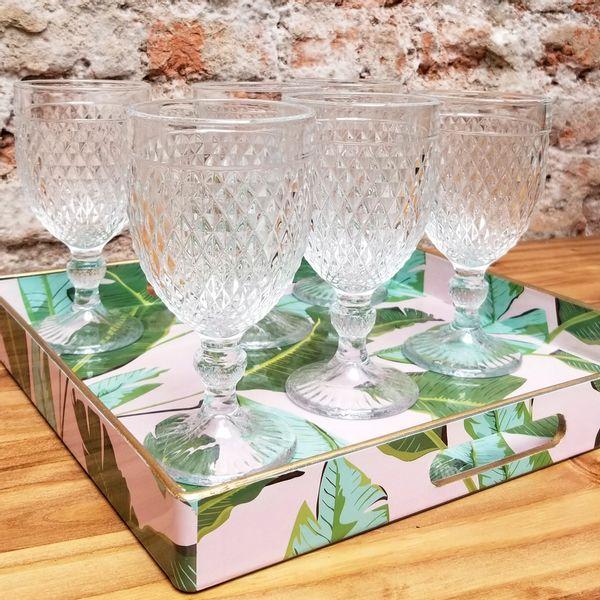 Copas Labradas de vidrio color Cristal - Set x 6 unidades