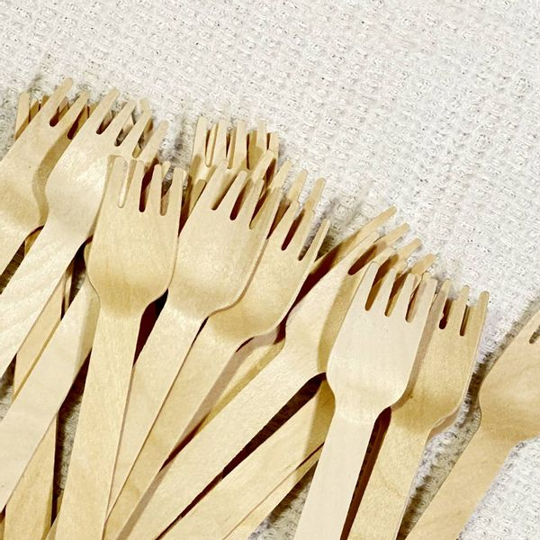 Tenedores madera descartables