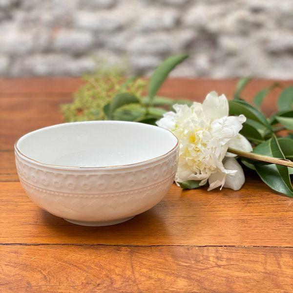 Bowl labrado porcelana borde dorado