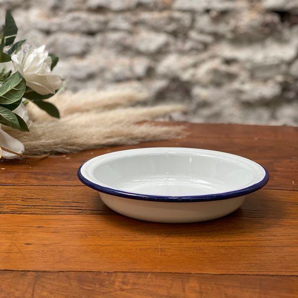 Plato hondo Enlozado 21 cm blanco y azul