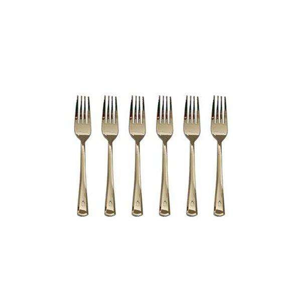 Set x 24 tenedor mini de plástico dorado