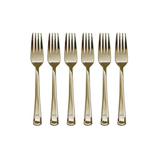 Set x 12 tenedor de plástico dorado