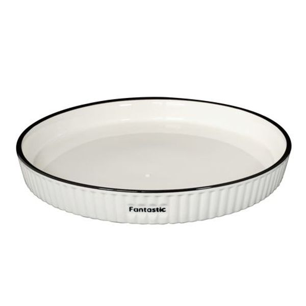 Plato de cerámica Black and White facetado 25 cm