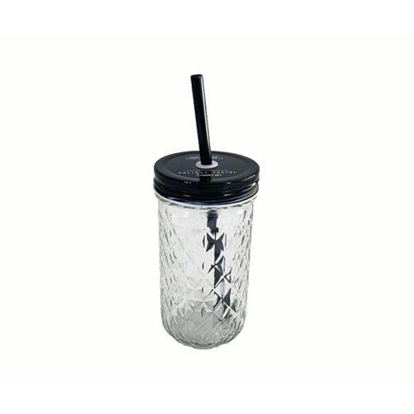 Vaso de vidrio con sorbete rombos 380 ml