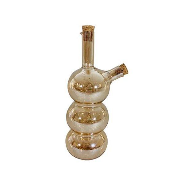 Aceitera de vidrio dore con tapones diseño burbujas 21 cm
