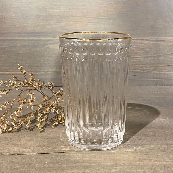 Vaso alto de vidrio con borde dorado