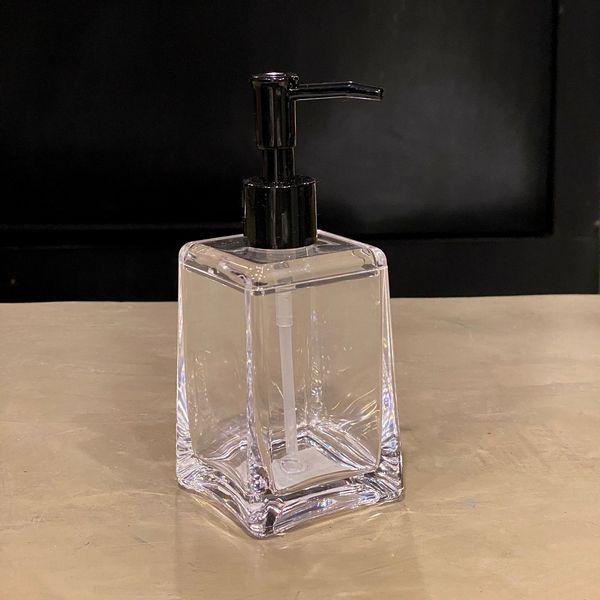 Dispenser jabón líquido trapecio de acrílico transparente 16 x 7 cm