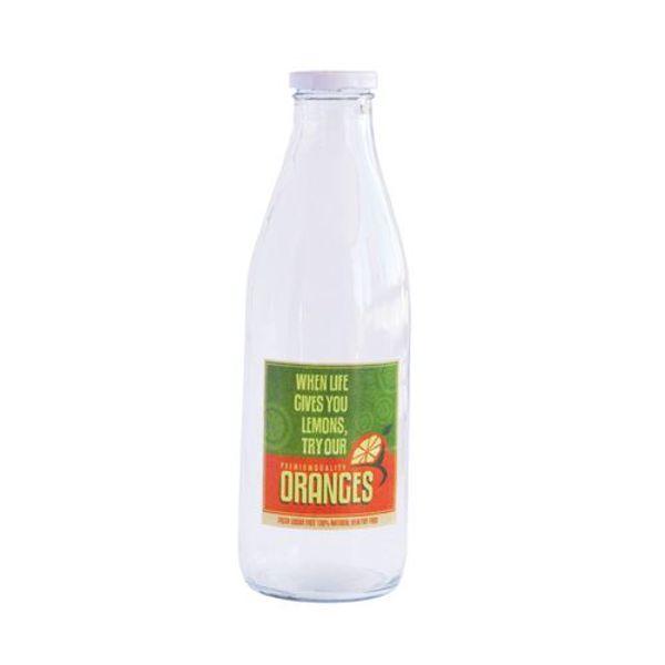Botella de vidrio con logo vintange