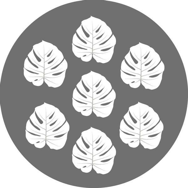 Individual redondo Palmas gris