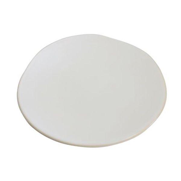 Plato postre cerámica blanca borde natural