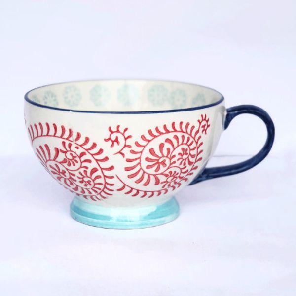 Taza tipo mug tramado azul y rojo