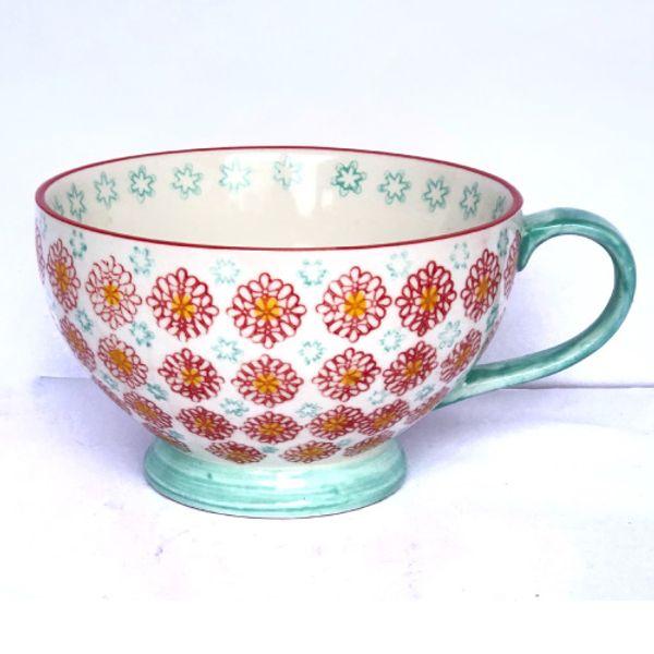 Taza tipo mug flores rojas