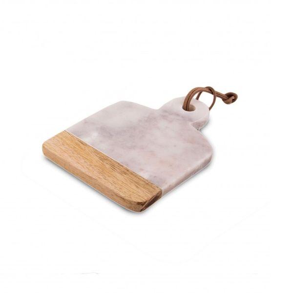 Tabla de mármol y madera mini blanca 20 x 15 cm
