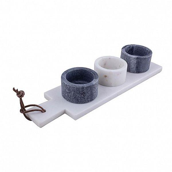Tabla de mármol con 3 dips