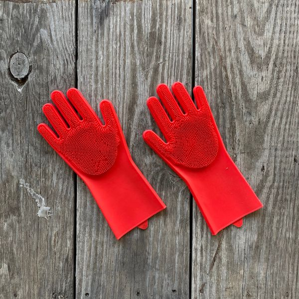 Guantes de silicona para lavar rojo