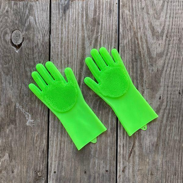 Guantes de silicona para lavar verde