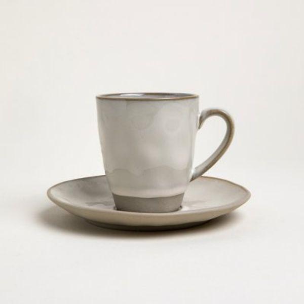 Taza y plato cerámica doble 200 cc