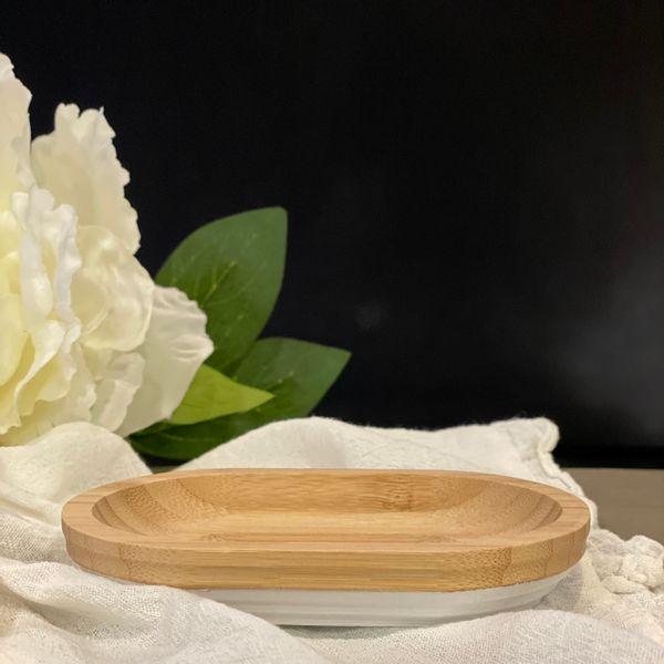 Jabonera bamboo cilindro con blanco